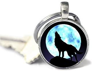 Encanto Llavero, diseño de lobo aullando. Luna arte Llavero joyas. Wolf Joyas. Wolf aullando Llavero. Luna Llavero