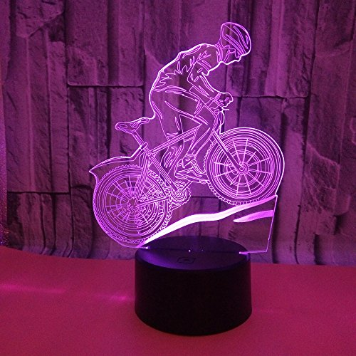 3D Illusion Lamp Mountainbike Nachtlicht Led Schlafzimmer Night Light Kunst Skulptur Lichter Schreibtisch Lichter Für Kinder Geburtstag Geschenk Tischdekoration Und Nacht Dekoration