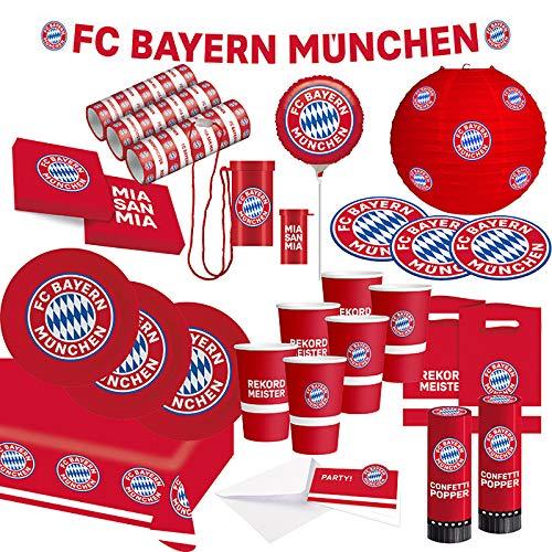 FC Bayern München Party Set · XXL Fußball Party Set 74 teilig Fanartikel · Party Zubehör · Deko zur Fußballparty und Geburtstag