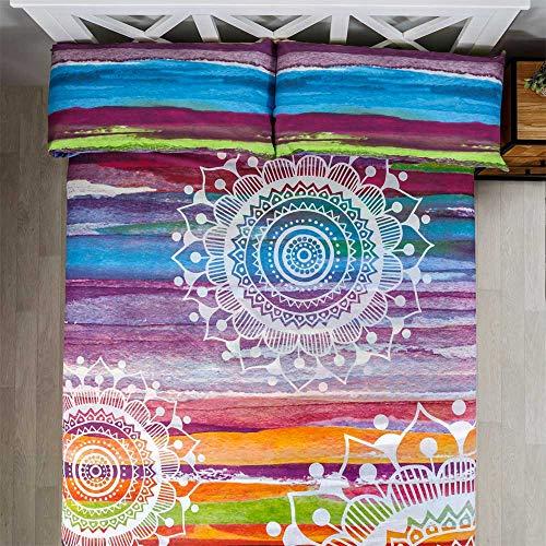 COTTON ARTean Juego de sabanas Mandala Acuarela Cama de 180 x 190/200. 50% ALGODÓN-50% Poliester.