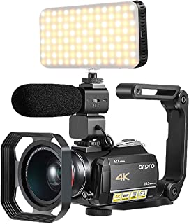 DV Camcorder 4K, with 12X Optical Zoom, Connecting with Smart LED Filling Light, Microphone, Wide Angle Lens, Lens Hood and Foldable Handheld Stabilizer(32GB SD Card as a Gift) by Emperor of Gadgets