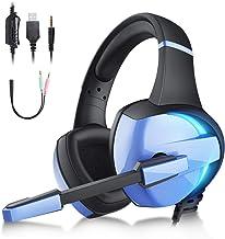 Audífonos Gamer con Micrófono para PS4 Xbox One PC Switch, Diadema Auriculares Alámbrico Estéreo para Juegos, Cancelación ...