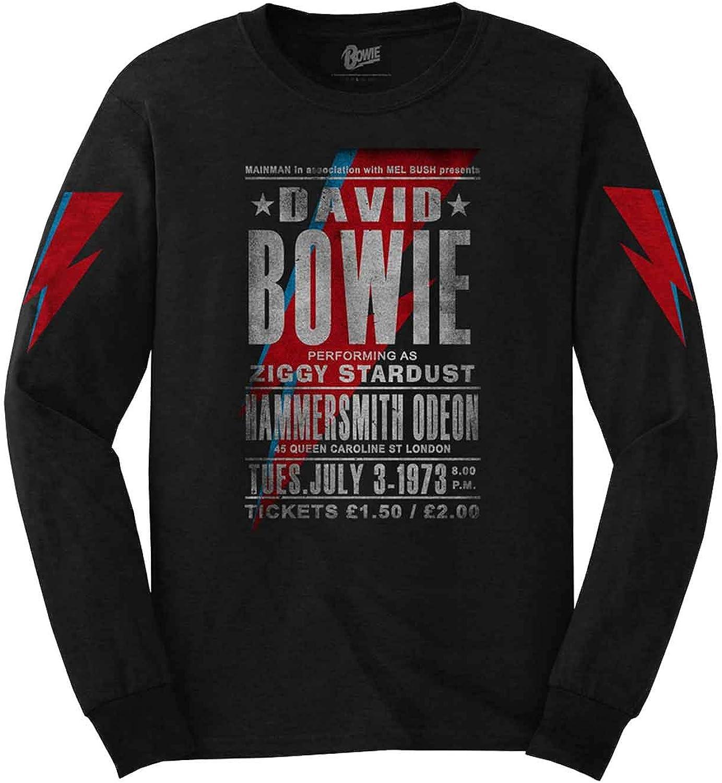 DAVID BOWIE T-Shirt Mens Hammersmith 1973 Tour Top Ziggy Stardust Poster Flyer