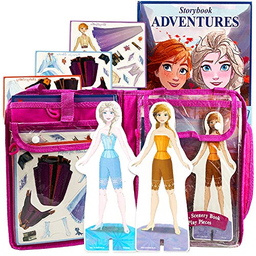 Bendon Inc. Disney Frozen Elsa and Anna Collection -- Set of Two Wooden Magnetic Doll Dress-Up Figures, 29 Magnetic Accessories, Scenery Book (Elsa & Anna Combo)