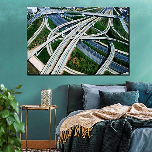VYQDTNR Canvas Wall Art Atlanta Freeway Roads Pictures Modern Large Canvas Artwork Wall Art Framed Ready to Hang Living Room Bedroom Kitchen Office Home Decor