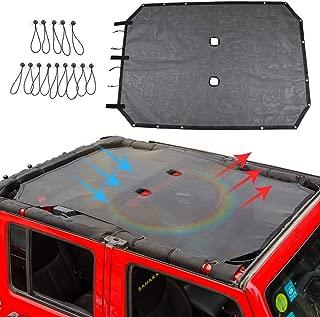 JK Sunshade Mesh Shade Top Cover for 4 Door 2007-2017 Jeep Wrangler JK Accessories (Black)