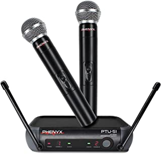 Phenyx Pro Dual UHF Handheld Wireless Microphone System, Portable Size, Fixed Frequency, Interference-free, Ideal for Church, Karaoke, Parties, Events (PTU-51-New)
