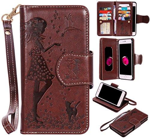 Preisvergleich Produktbild Nancen Compatible with Handyhülle iPhone 7 Plus iPhone 8 Plus Hülle,  Prägung Mädchen Schmetterling Blume Vögel und Katze Muster Doka-Tasche [Braun]