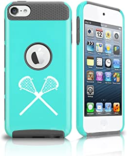 For Apple iPod Touch 5th / 6th Shockproof Impact Hard Soft Case Cover Lacrosse Sticks (Teal-Grey)