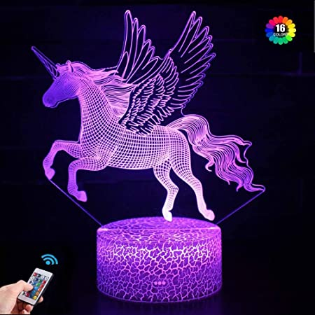 Veilleuse Licorne pour enfants et Bébé, Rechargeable Lampe Illusion 3D 16 Couleurs CChangeantes avec Télécommande, Cadeau D'anniversaire et de Vacances pour Enfants Filles