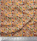 Soimoi Orange Baumwoll-Voile Stoff Sonne, Regentropfen und