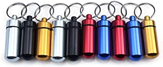 Ewinever 10-Pack Waterproof Aluminum Pill Box Case Bottle Holder Container with Keychain Multi Colors
