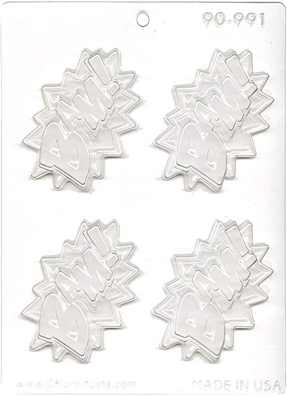 CK Products Super Hero Saying BAM Decorating Chocolate Mold 9 5 X7 5 Clear