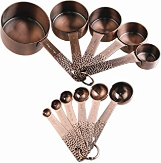 Measuring Cups and Spoons Set, Copper Measuring Cups and Spoons, Stainless Steel Measuring Cups and Spoons, 5 Measurer cup...