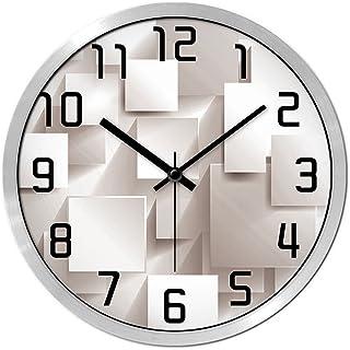 FJH パーソナリティミュートの壁時計現代のベッドルームの時計クォーツ時計の腕時計テーブルクリエイティブリビングルームミュートパーソナリティラージウォールクロック (色 : シルバー しるば゜, サイズ さいず : 14 inches)