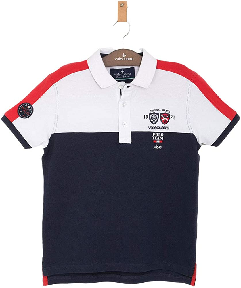 Multicolor Classic Fitted Polo Shirt for Boys, 100% Cotton - Valecuatro