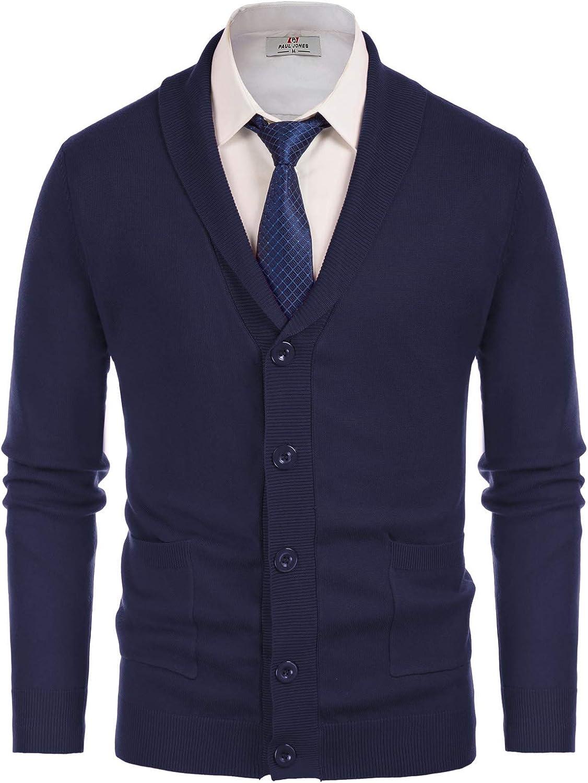 Men's Stylish V-Neck Button Down 2 Pockets Cardigan Sweater Ribbed Edge
