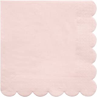 Meri Meri Pale Pink Large Napkins - Pack of 20 - Top Quality Thick Ply Paper with Scallop Edge