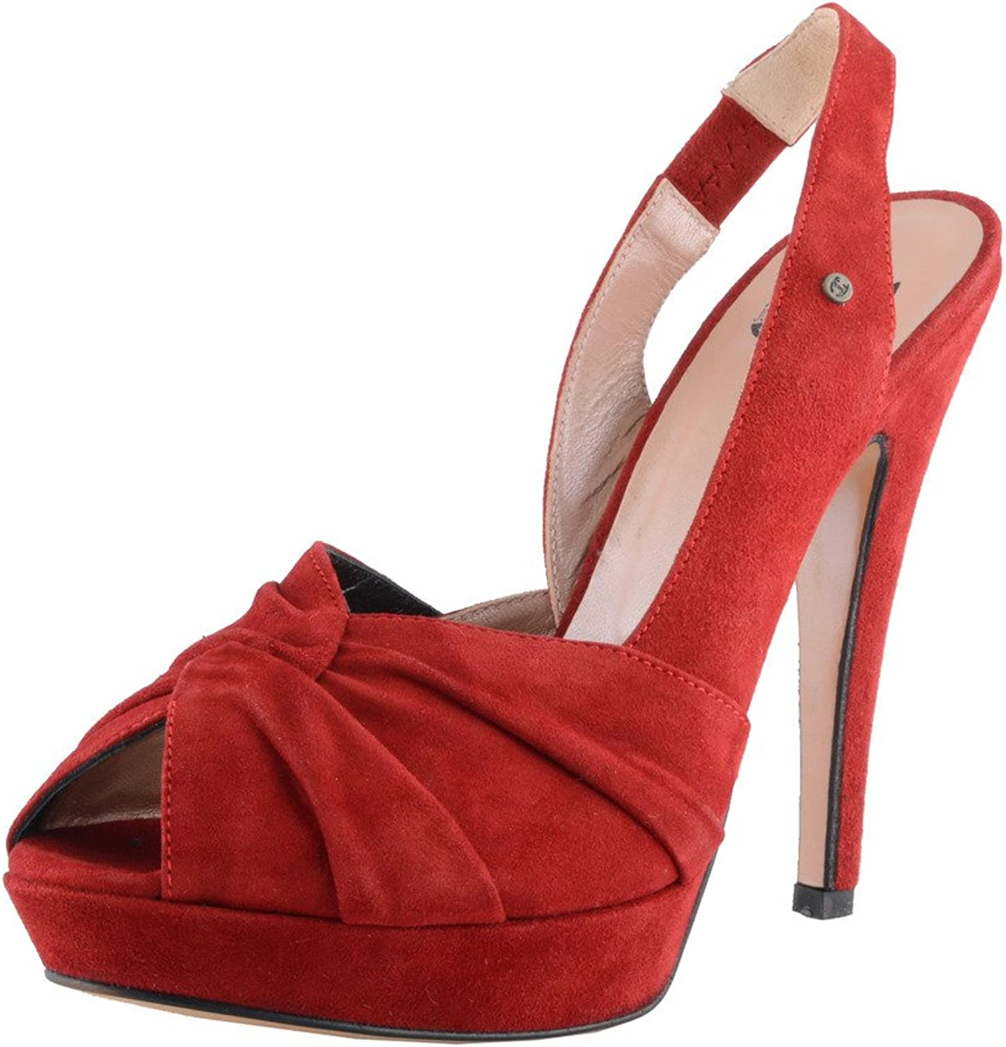 Just Cavalli Women's Suede Red High Heel Pumps Slingback shoes
