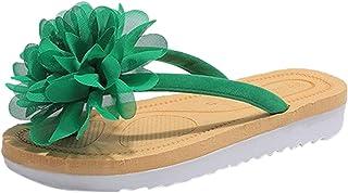 UULIKE Tongs Femme Sandales Plates Confort Plage Sandales,Tongs des Fleurs Impression Adorables Sandales d'été Amusantes F...