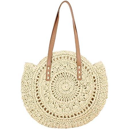 Fanville Frauen Runde Stroh Tasche Rattan gewebte Umhängetasche Wicker Einfache tragbare Strandtasche Runde Summer Beach Geldbörse und Handtaschen