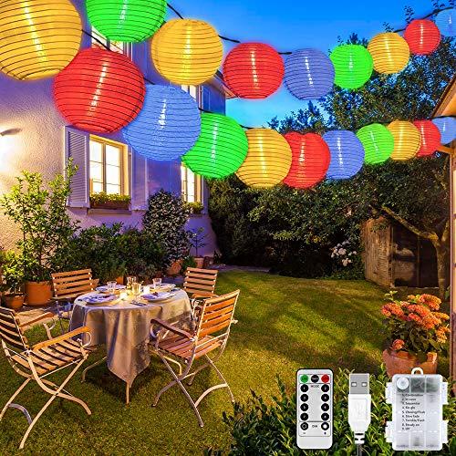 Guirnaldas Luces Farolillos, 8 modos 40 LED Iluminación de Exterior Farolillos, Impermeable Decoración Farolillos con Temporizador, USB/Alimentado por Batería, para Jardín, Patio, Boda, Fiesta
