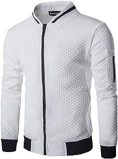 HOP FASHION Mens Casual Diamond Zipper Up Jacket Coat with Pockets