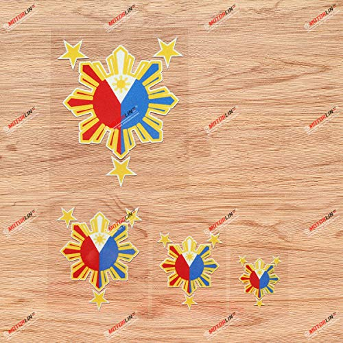 Eight-ray Sun Stars Philippines Flag Filipino Vinyl Decal Sticker - 4 Pack Reflective, 2 Inches, 3 Inches, 4 Inches, 6 Inches - for Car Boat Laptop Cup Phone