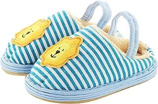 iDuoDuo Kids Fashion Stripes Warm Slipper Cute Cartoon Applique Home Slippers (Toddler/Little Kid)