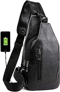Lucien Hanna Men's Sling Bag Multipurpose Daypacks Shoulder Crossbody Bag with USB Charge Port Black