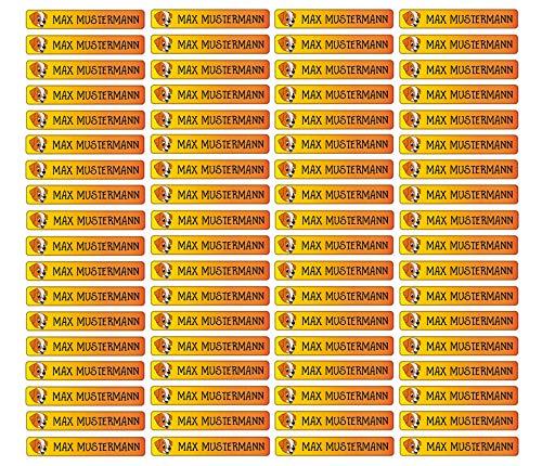 Stifteaufkleber für Bleistifte, Kugelschreiber & weiteres Namensaufkleber Namen Sticker Aufkleber 49x7,5mm | 72 Stück Kinder & Erwachsene Schule & Kindergarten 37 Hintergründe Hund dog