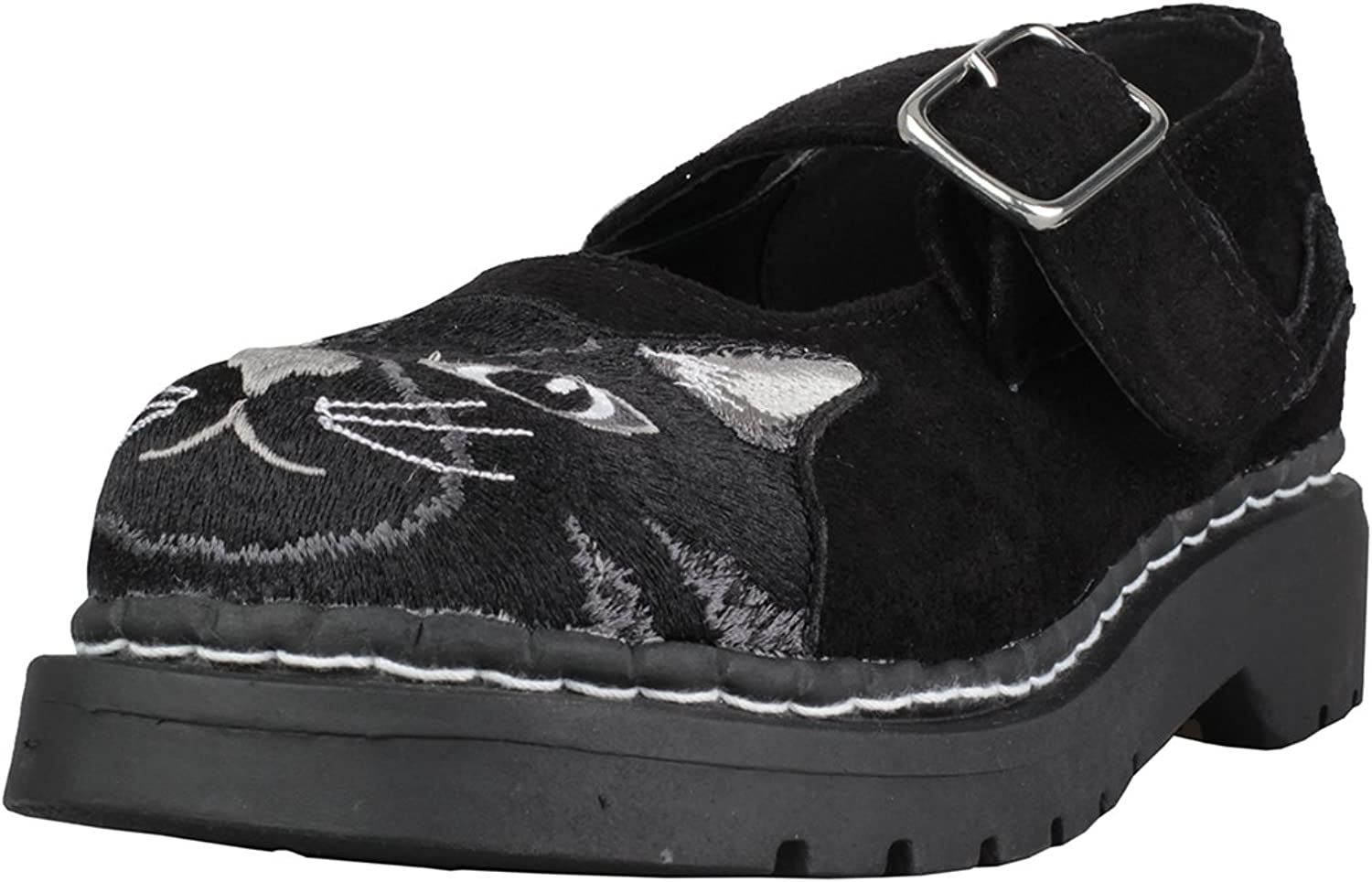 T.U.K. shoes T2261 Womens Mary Janes, Black Faux Suede Embroidered Kitty Mary Jane