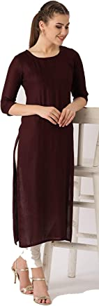 85a6868b064 Leda Dark Brown Solid Indian Pakistani Kurtis Ethnic Kurti Women Dress
