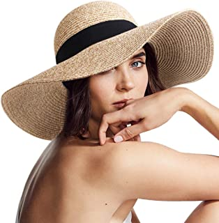 Womens Sun Straw Hat Wide Brim UPF 50 Summer Hat Foldable...