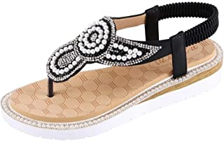 Wogo Women'S Thong Sandals Summer Women'S Flat Pants Bohemian Style Beaded Sandals Beach Casual Shoes