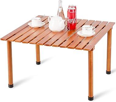 Costway Table de Camping en Bois Pliante d'Intérieur et d'Extérieur, Table de Pique-Nique Portable avec Sac de Transp