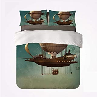 Fantasy Decor Various 3Bedding Set,Surreal Sky Scenery with Steampunk Airship Fairy Sci Fi Stardust Space Image for Home,Queen