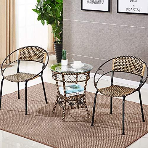 CZWYF Juego de Muebles para Patio Conjunto de 3 Piezas de Mimbre para Exteriores Conjunto de sillas de ratán Conjuntos de conversación con Mesa de Centro / 20.1x22.4inches, 20x21.6inches