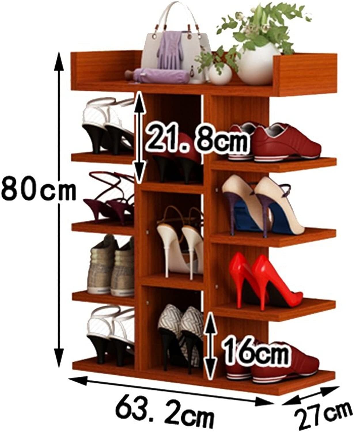 shoes Rack Organizer Storage, Simple Multi-Storey Wooden Racks, Solid Wood high-Capacity shoes, Home shoes Rack. (Size   63.2  27  80cm)