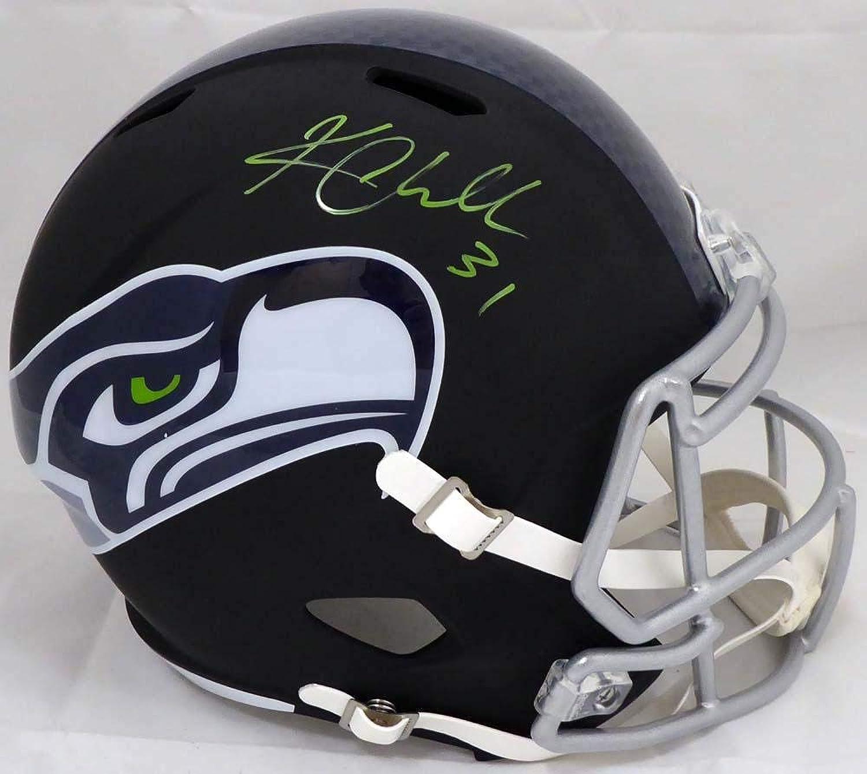 Signed Kam Chancellor Helmet  Flat Matte Black Full Size Replica in Green MCS Holo Stock  148369  Autographed NFL Helmets