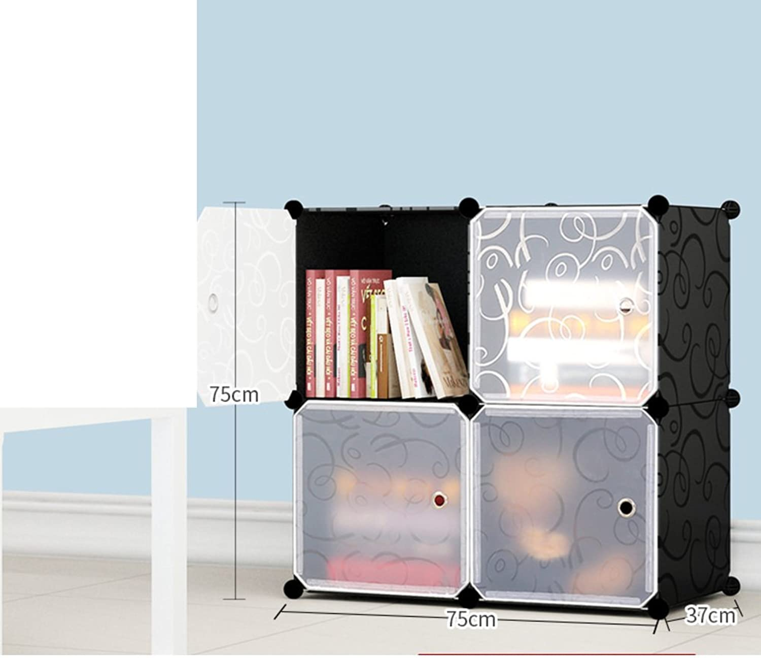 Simple Bookcase,Free Combination Storage Assembly Storage Cabinet Plastic Bookshelf Floor-Standing-I 75x37x75cm(30x15x30)