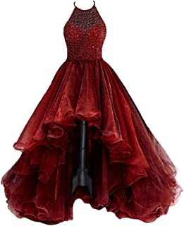 Women's High Low Beading Organza Prom Dresses 2018 Sequined Halter Party Ball Gown P014