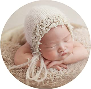Zeroest Baby Photography Props Luxurious Hat Photo Shoot Outfits Newborn Girl Crochet Costume Infant Knitted Hats (Beige)