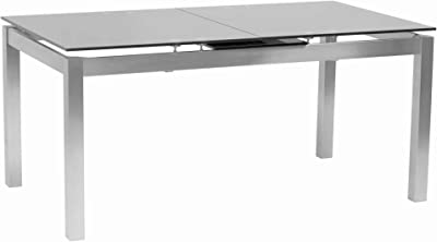 Benjara Extendable Dining Table with Glass Top and Metal Base, Silver