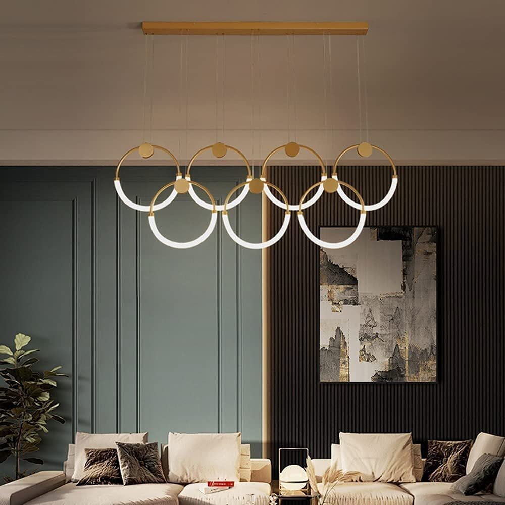 WSSCKT New product! New type LED Pendant Lamp Dining Room Stair Ring Chandelier List price Golden
