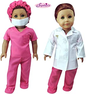 Sophia's Complete 18 Inch Doll Doctor or Nurse 6 pc Set of White Doll Lab Coat, Face Mask. Fuchsia Shoe Covers, Cap & Scru...
