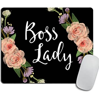 Boss Lady Mouse Pad - Floral Boss Lady Funny Mouse Pad - Typography Computer or Office Work Station Decor - Black Background
