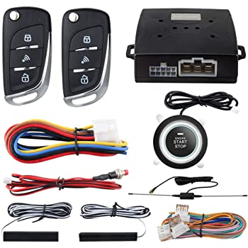EASYGUARD EC003N-V-1 PKE Passive Keyless Entry Car Alarm System Push Start Button Remote Start Starter DC12V