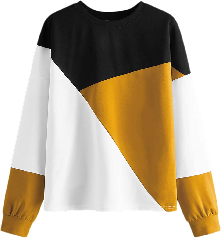 SweatyRocks Women's Casual Sweatshirts Crewneck Long Sleeve Color Block Sweatshirt Pullover Tops