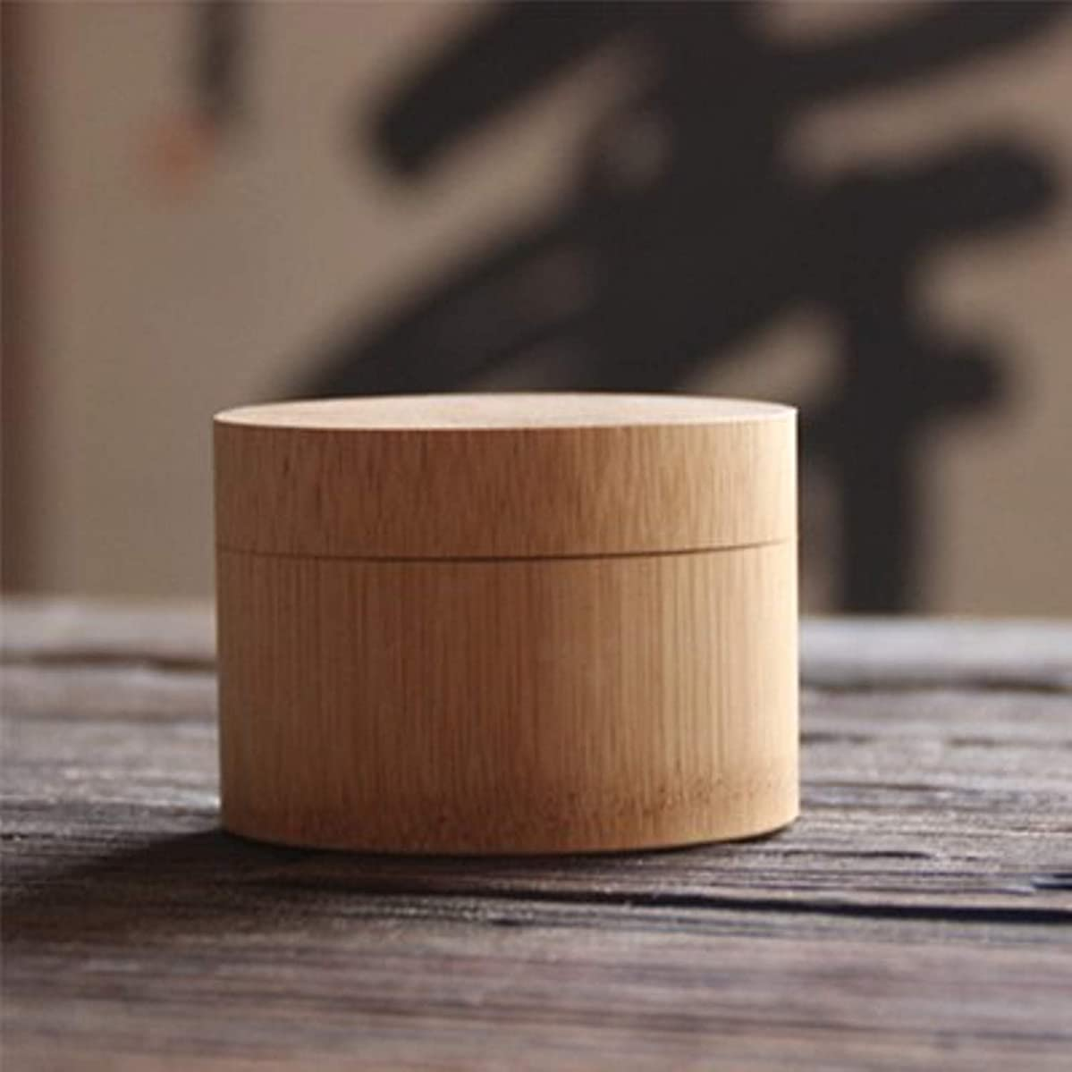 Eco-friendly Teapot Accessories Natural Bamboo Matcha Canister Powder Green Tea (Short)